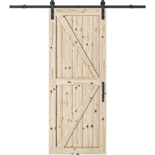 Colonial Elegance Artisan 37 In. x 84 In. x 1.38 In. K-Style Unfinished Barn Door Kit