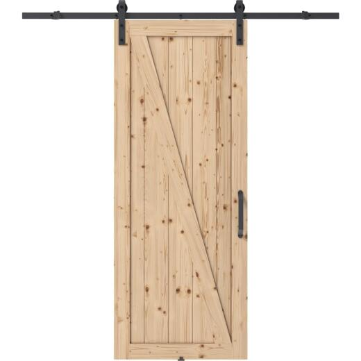 Colonial Elegance Chalet 37 In. x 84 In. x 1.38 In. Unfinished Z-Style Barn Door Kit