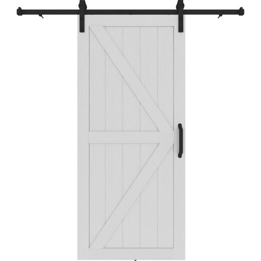 Colonial Elegance Artisan 37 In. x 84 In. x 1.38 In. White Vinyl K-Style Barn Door Kit
