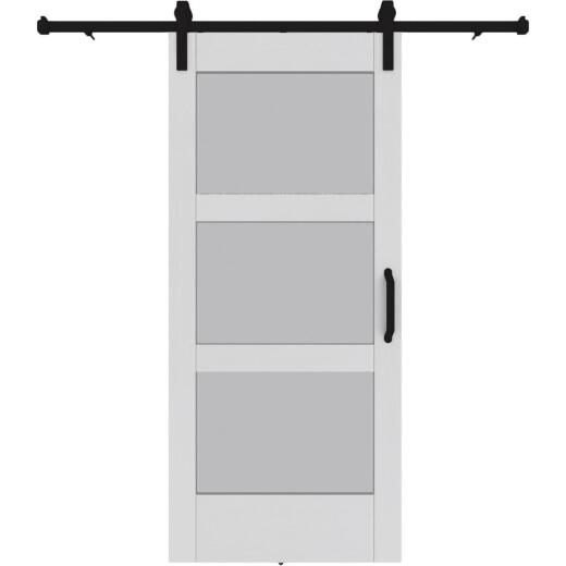 Colonial Elegance 37 In. x 84 In. x 1.38 In. 3-Lite White Vinyl Barn Door Kit