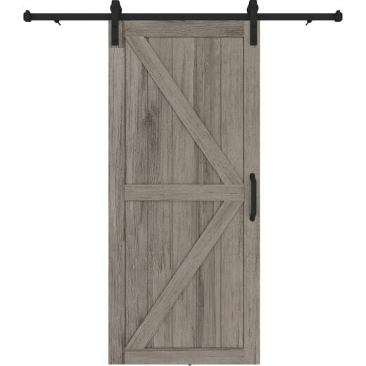 Colonial Elegance Artisan 37 In. x 84 In. x 1.38 In. Gray Vinyl K-Style Barn Door Kit