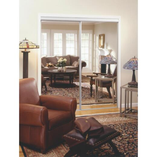 Erias 4050 Series 47 In. W. x 80-1/2 In. H. Bright White Top Hung Mirrored Bypass Door