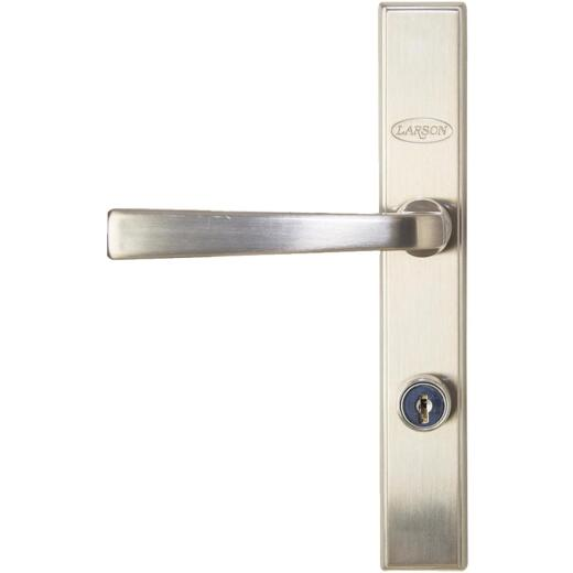 Larson QuickFit Brushed Nickel Die-Cast Metal Locking Storm Door Straight Leverset