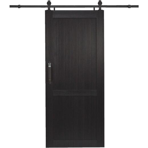 Millbrooke 36 In. x 84 In. x 1.3 In. H-Style Black PVC Barn Door Kit