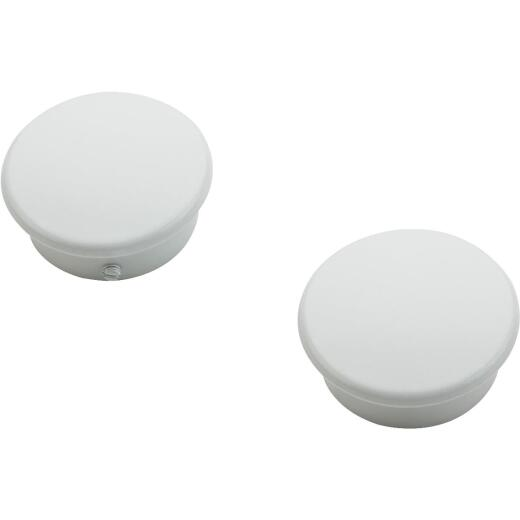 National Catalog V8602 White Closet Rod End Caps (2-Count)