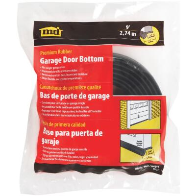 M-D 2 In. x 9 Ft. Black Rubber Door Bottom Garage Door Seal