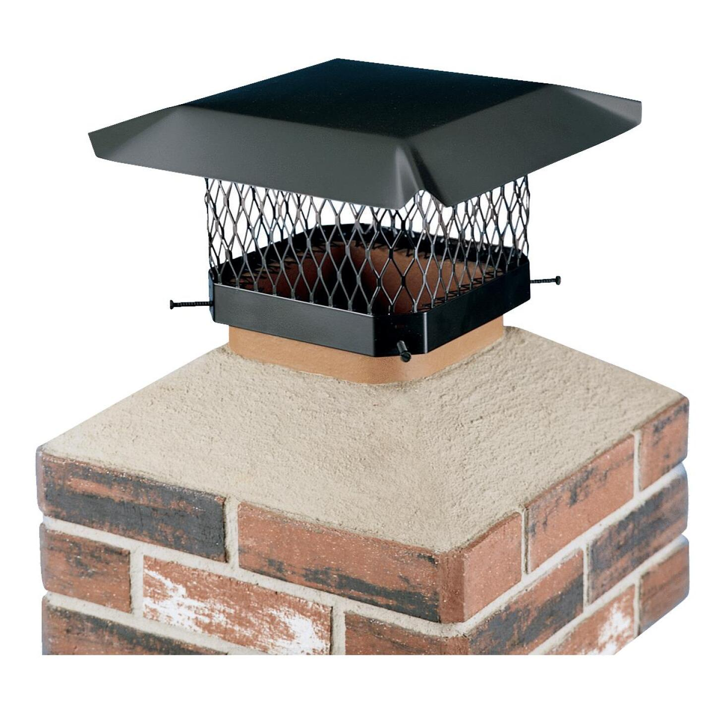 Shelter 13 In. x 13 In. Black Galvanized Steel Chimney Cap Image 1