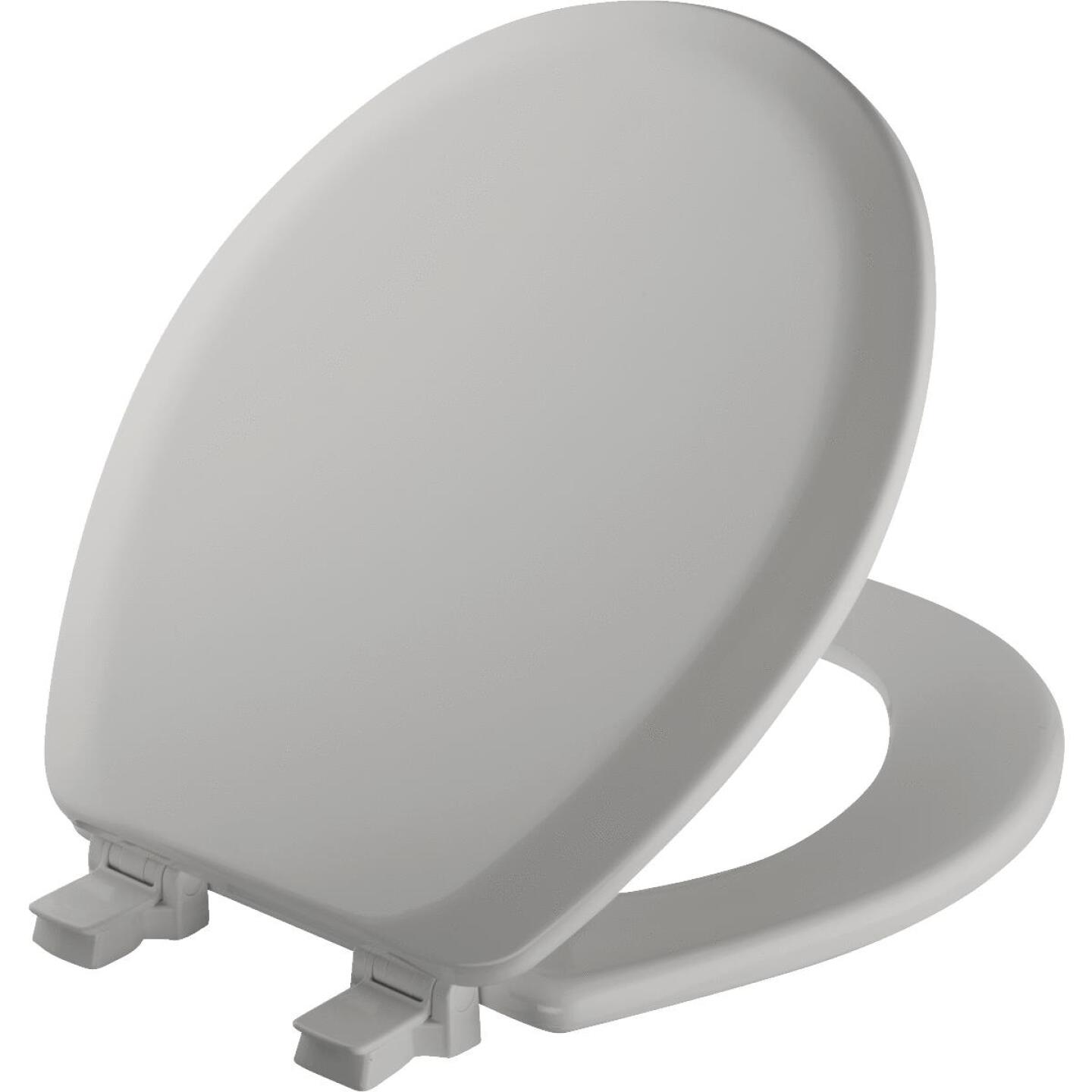 Mayfair Advantage Round Closed Front Silver Wood Toilet Seat Image 1