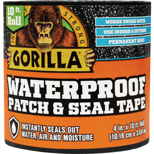 Gorilla 4 In. x 10 Ft. Waterproof Patch & Seal Repair Tape, Black