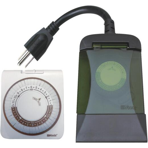 Woods 15A 125V Indoor & Outdoor Timer Set