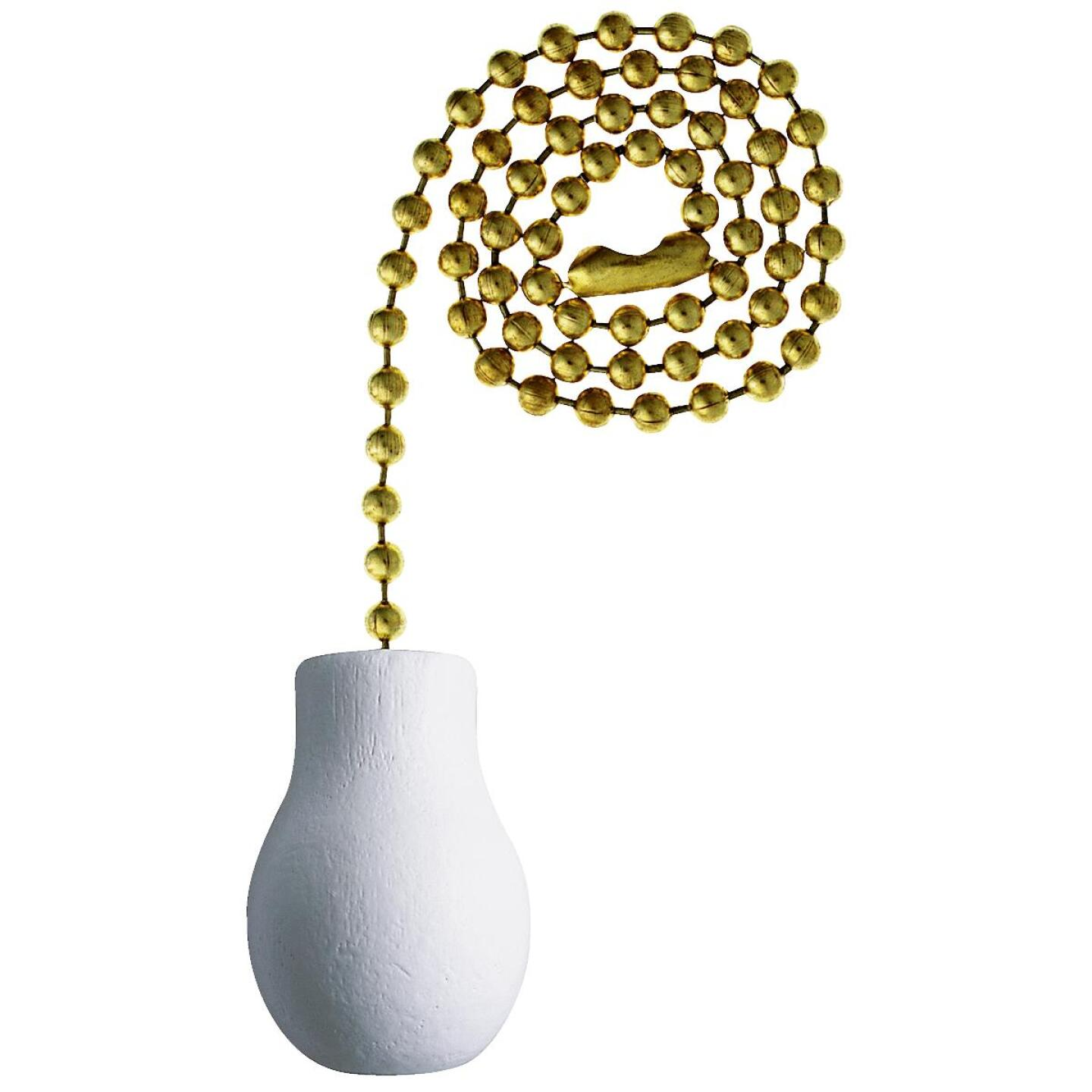 Westinghouse 12 In. Polished Brass Pull Chain with White Wood Knob Ornament Image 1