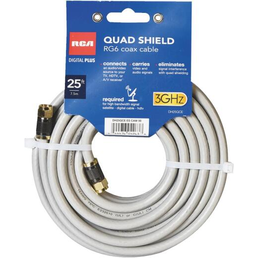 RCA 25 Ft. Gray Quad RG6 Coaxial Cable
