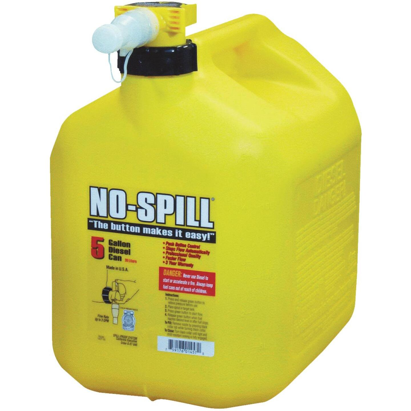 No-Spill 5 Gal. Plastic Diesel Fuel Can, Yellow Image 1