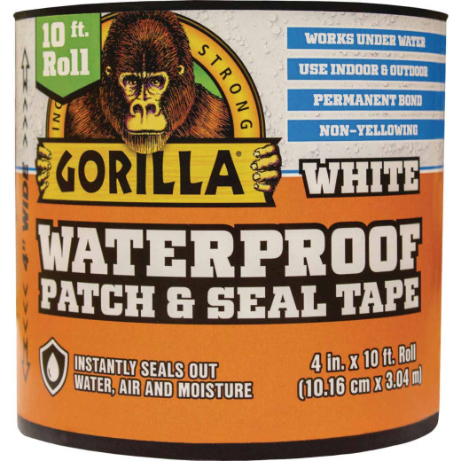 Gorilla 4 In. x 10 Ft. Waterproof Patch & Seal Repair Tape, White