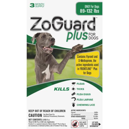 ZoGuard Plus 3-Month Supply Flea & Tick Treatment For Dogs 89 Lb. to 132 Lb.