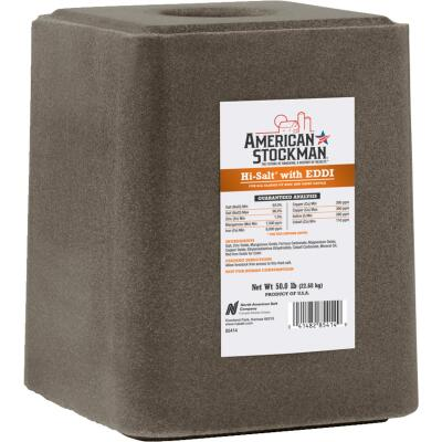 American Stockman 50 Lb. Hi-Salt With EDDI Mineral Block