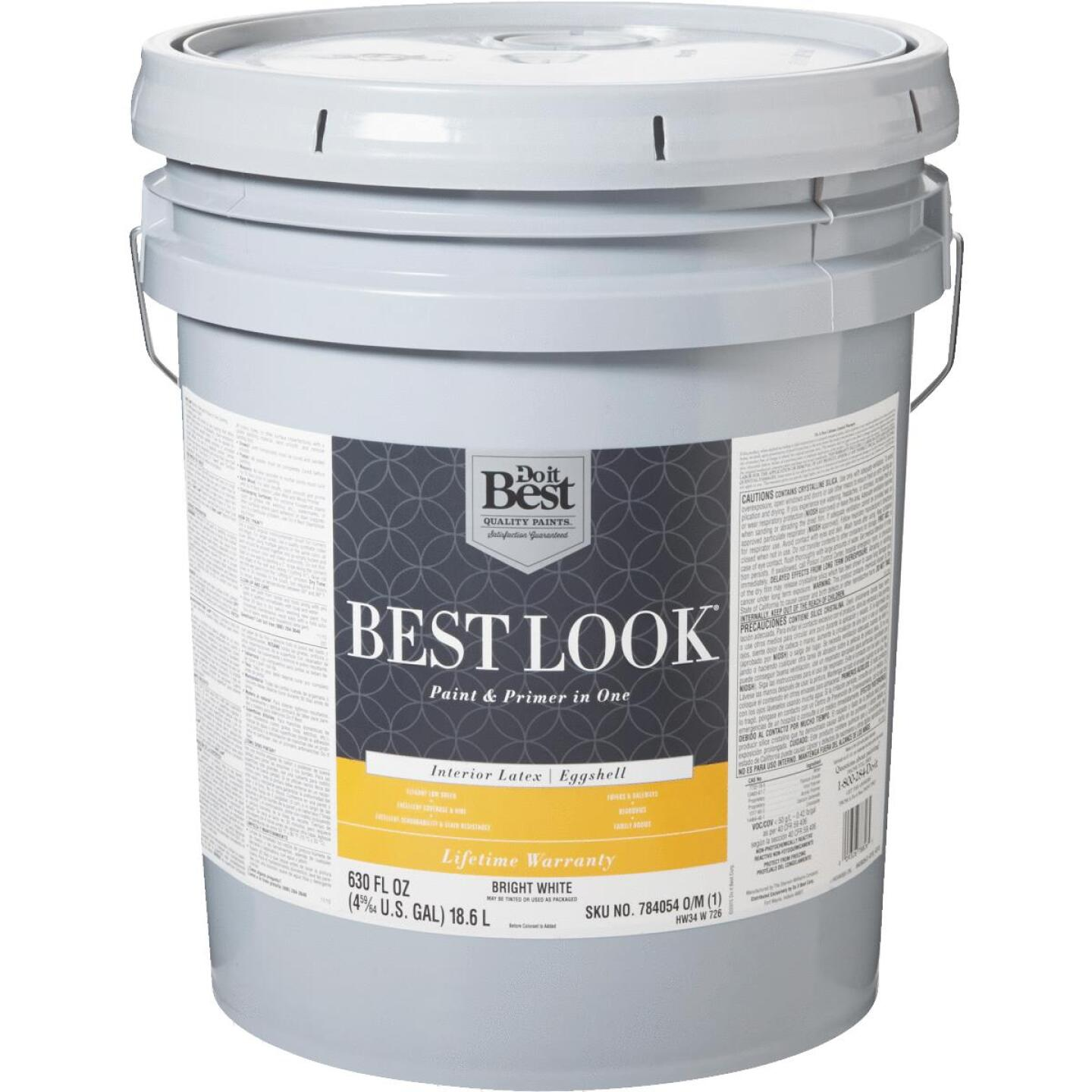Best Look Latex Paint & Primer In One Eggshell Interior Wall Paint, Bright White, 5 Gal. Image 1