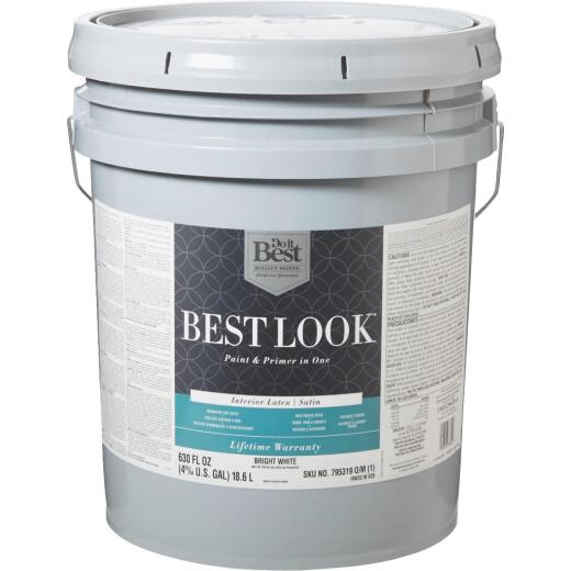 Best Look Latex Paint & Primer In One Satin Interior Wall Paint, Bright White, 5 Gal.