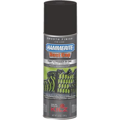 Hammerite Rust Cap Flat Black 12 Oz. Anti-Rust Spray Paint