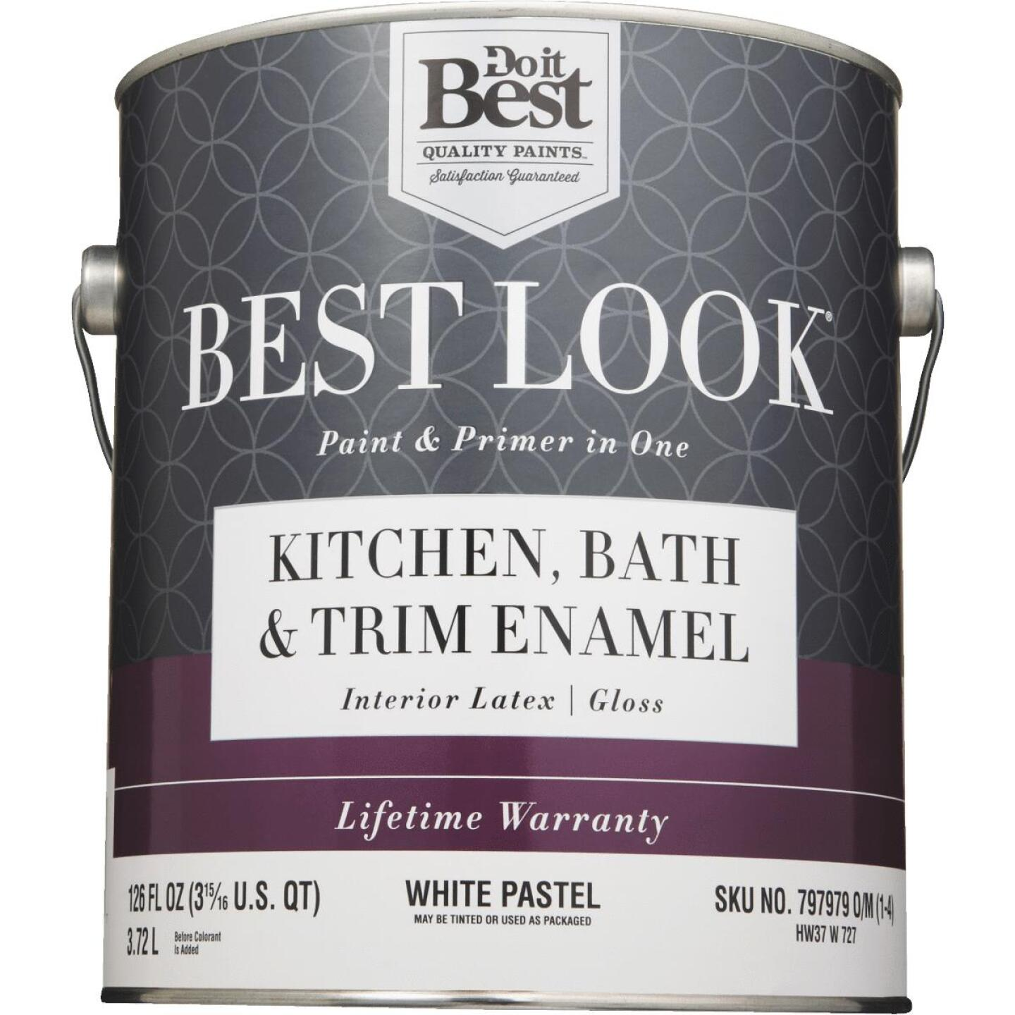 Best Look Latex Paint & Primer In One Kitchen Bath & Trim Enamel Gloss Interior Wall Paint, White-Pastel Base, 1 Gal. Image 2