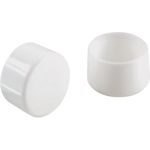 Do it 1 In. White Round Plastic Replacement Patio Furniture Cap (4-Pack)