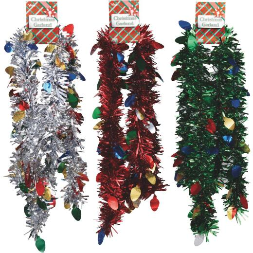 F C Young 8 Ft. Die-Cut Jumbo Colored Garland Assortment with Bulbs